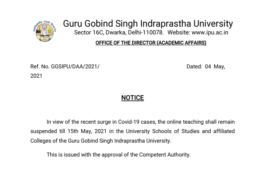GGSIPU suspends online classes